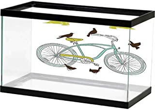 bybyhome Fish Tank Bicycle,I Love My Bike Concept with Birds on The Seat Cruisers Basic Vehicle Simplistic Art,Green Blue Non-Toxic