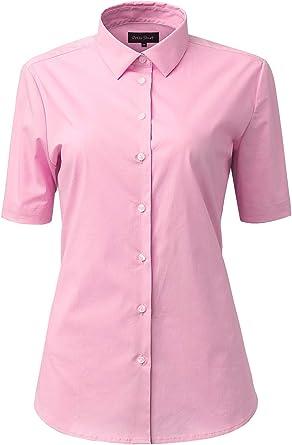 Mujer Camisa Manga Corta, Camisa Blusa Básica Casual de Algodón Informal Formal, Ideal para Oficina/Trabajo/Entrevista