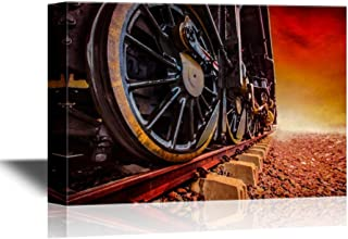 wall26 - Tank Engine Canvas Wall Art - Train Wheels on The Railway at Sunset - Gallery Wrap Modern Home Decor | Ready to Hang - 16x24 inches