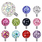 Clear Epoxy Covered Ferido Ball 316L Surgical Steel Dermal Anchor Tops (14GA (1.6mm), Ball Size: 3mm, Aurora Borealis)