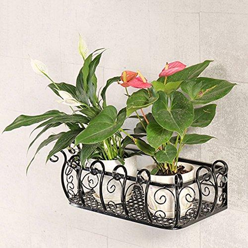 ZHANWEI Etagère à Fleurs Porte Pots pour Fleurs et Plantes Fer Niveau 1 Multifonctionnel Tenture Murale Garde-Corps Intérieur/extérieur, Noir, 29 cm * 50/80/100/120 / 150cm (Taille : 50 cm)