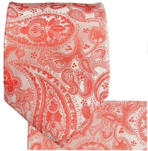 Cravate rouge paisley ensemble de cravate 3 Pièces (100% Soie Cravate + Mouchoir + Boutons de manchette)