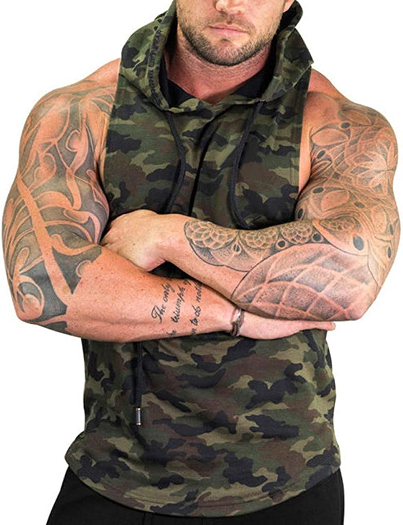 Gergeos Hoodie Tank Tops Men's Mesh Sleeveless Casual Shirts Gyms Fitness Vest