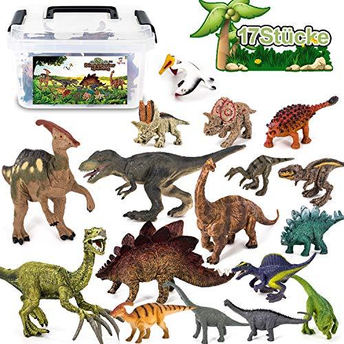 Tagitary 17 Stücke Dinosaurier Spielzeug Set Realistische Dinosaurier Figuren Modell für Kindergeburtstag Ausbildung Party Dekoration