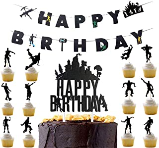 Awyjcas Video Game Party Favors Birthday Banner and Cupcake Topper Party Supplies Baby Boy Birthday Cake Topper Floss Dance Like a Boss Party Decoration
