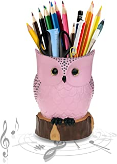J JHOUSELIFESTYLE Owl Music Box with Brush Holder Function and Free White Pearl, Owl Rotating as Music Plays, Great Owl Lover Gifts for Women Girls as Pen Pencil Holder for Desk - Pink