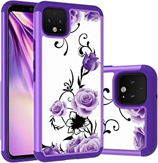Pixel 4 XL Case, Yuanming Dual Layer TPU & Hard Back Cover Bumper Protective Shock-Absorption & Skid-Proof Anti-Scratch Hybrid Case for Google Pixel 4 XL (Purple)