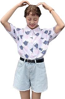 [ユリカー] レディース シャツ アロハシャツ ハワイシャツ パイナップル ブラウス 夏 Vネック 半袖 ラペル 花柄 プリント 薄手 ゆったり リゾート ビーチ
