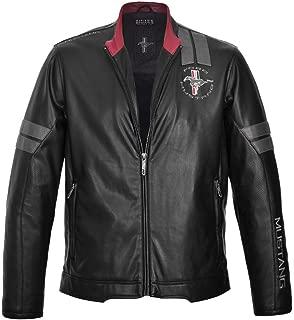 Mustang Jacket Black Leatherette Logo On Arm