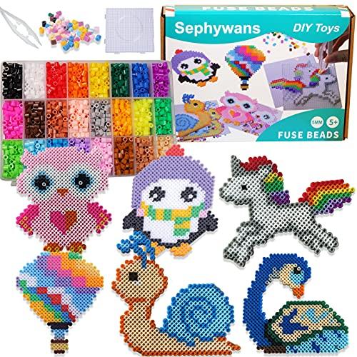 Sephywans Bügelperlen Set, 4800 Stk 5mm bügelperlen in 24 Farben Eisen Perlen Set für Kinderbasteln, Fuse Beads Kits für Kinder Perlen Set mit Muster-Karten, Pegboards, Bügelpapier