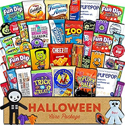 Halloween Care Package (45) Candy Snacks Assortment Trick or Treat Cookies Food Bars Toys Variety Gift Pack Box Bundle Mixed Bulk Sampler for Children Kids Boys Girls College Students Office