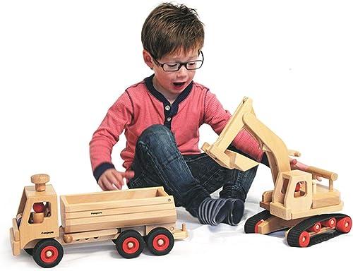 Fagus Set Bagger aus Holz mit 3-Achs LKW Muldenkipper