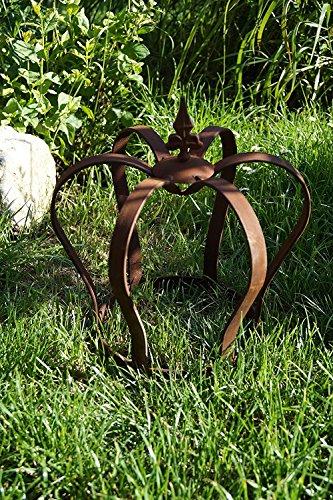 Dekostüberl Edelrost Krone Lilie zum Stellen Gartendekoration 32 x 28cm