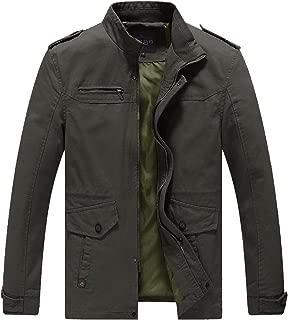 Mens Casual Cotton Jacket Lightweight Military Multi Pockets Madarin Collar All Season Daily Outerwear