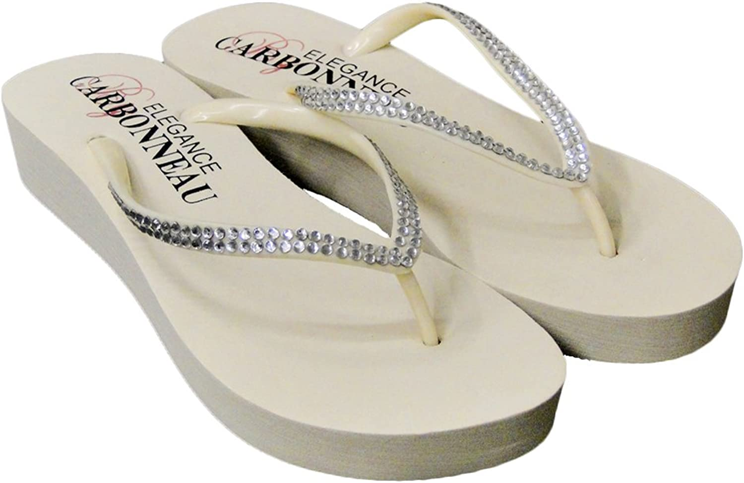 Elegance by Carbonneau Sunshine Women's Low Heel Flip Flop Ivory Foam Rubber Sandal