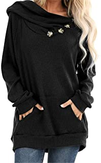 Jackets Women Long Sleeve Hoodies Solid Color Button Pocket Loose Jumper Sweatshirts Comfortable Lightweight Simple Coat A...