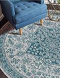 Dmqpp Traditioneller Vintage-Teppich, rund, weich, blau, Boho-Stil, für Wohnzimmer, Schlafzimmer, Flur, 80 cm Durchmesser, Polyester, blau, 120cm Diameter