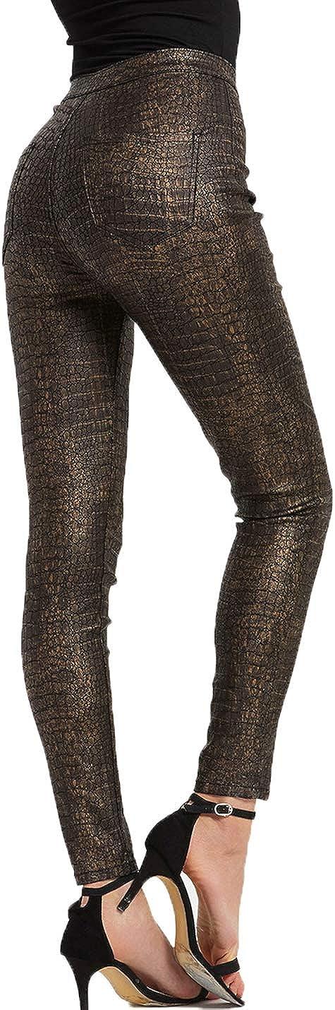 PAODIKUAI Women Faux Leather Crocodile Stretchy High Waist Tights Leggings Pants