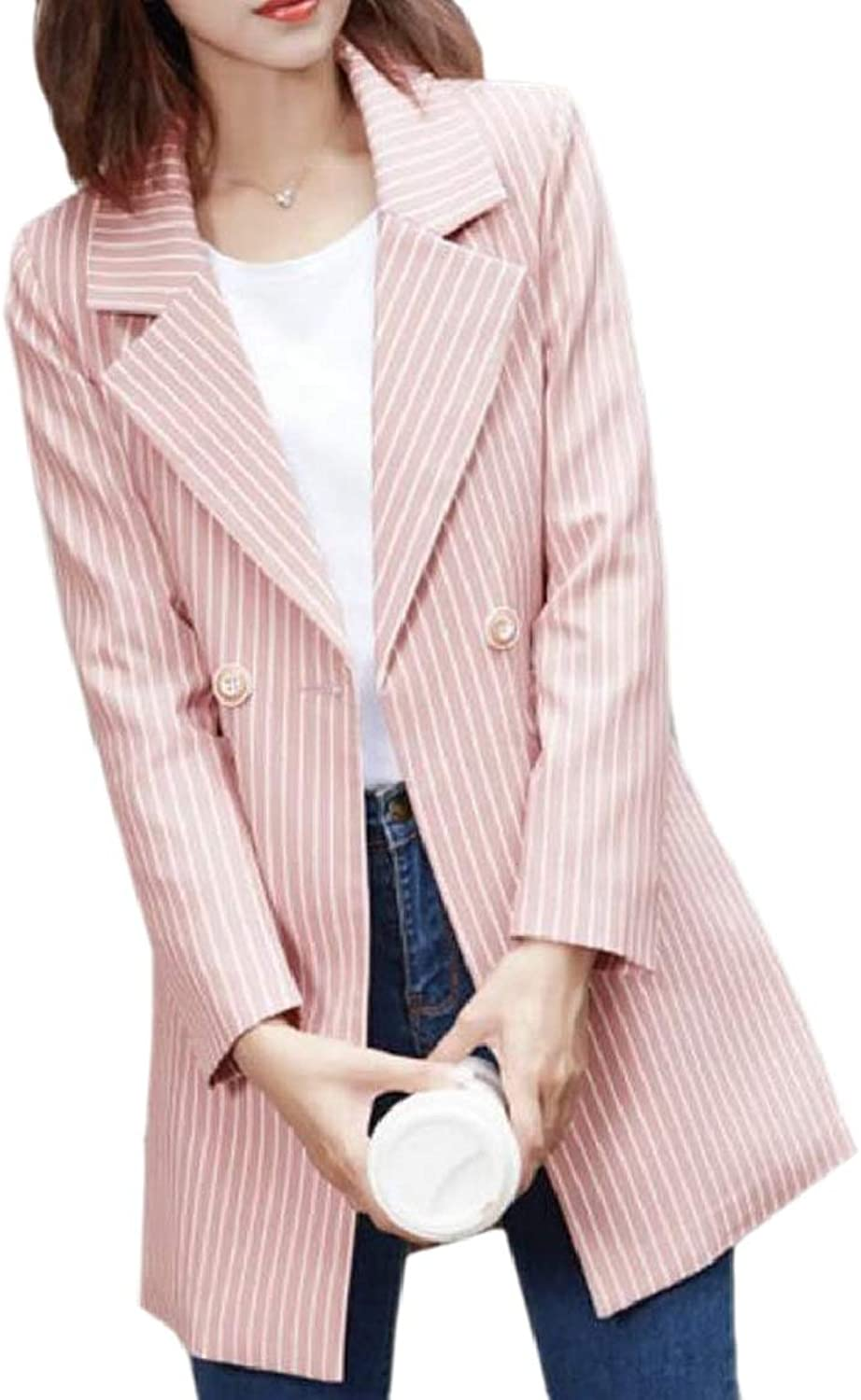 PujinggeCA Womens Blazer Casual Thigh Length Stripes One Button Jacket Suits