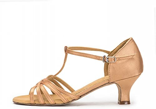 BYLE BYLE BYLE Sangle de Cheville Sandales en Cuir Chaussures de Danse Modern'Jazz Samba Chaussures de Danse Latine avec des Femmes Adultes Chaussures de Danse en Satin Or 5.2CM Fond Mou 0e9