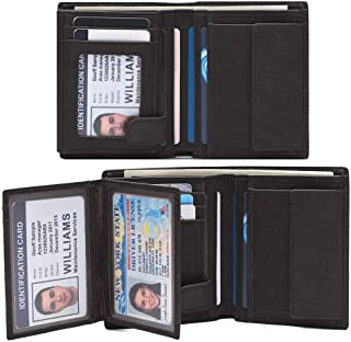 Mens Leather Wallet Bifold, RFID Blocking Card Wallet with 15 slots & 3 ID Windows & 2 Cash Compartment Near Black Driver License
