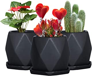 SQOWL 4inches Ceramic Black Geometric Succulent Planter Pots with Removable Saucer,Set of 3