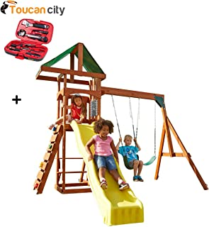 Toucan City Tool Kit (9-Piece) and Swing-N-Slide Playsets Scrambler Deluxe Wood Complete Swing Set with Chalkboard PB 8000