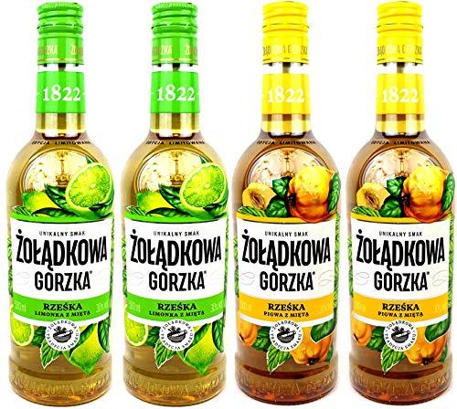 Vierer Paket Zoladkowa Gorzka Liköre (4x0,5) 2 Flaschen Quitte Minze, 2 Flaschen Limette Minze.