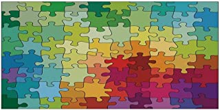 Abstract Beautiful Sticker,Colorful Puzzle Pieces Fractal Children Hobby Activity Leisure Toys Cartoon Image for Indoor