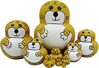 Cute Animal Yellow Tiger Nesting Doll Wooden Matryoshka Russian Doll Handmade Stacking Toy Set 10 Pieces for Kids Girl Gifts Home Decoration