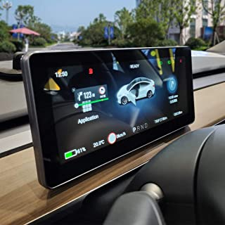 Hansshow Compatible with Tesla Model 3/Model Y 10.25' Steering Wheel Center Console Mono Audio Backup+Camera +Android/iOS+ Apple Wireless/Wired Carplay+WiFi+GPS+2 Bluetooth +OTA Upgrades+USB