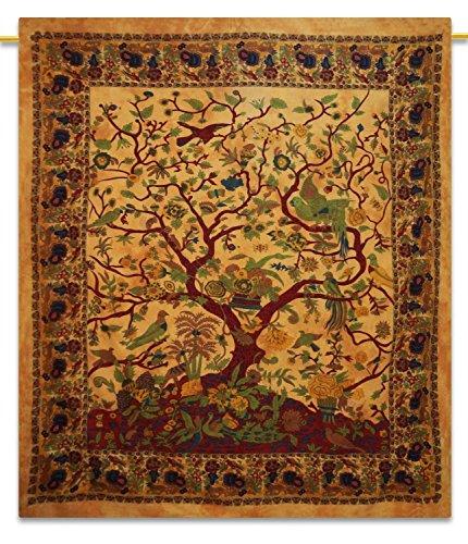 Handicrunch Sábanas Árbol de la vida bohemia de Tapices Arte de la pared del Hippie Tapiz algodón 92X82