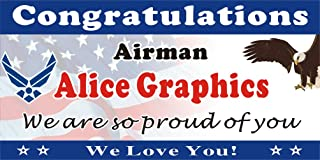 [Vinyl] Alice Graphics 2ftX4ft Custom Personalized Congratulations Airman US Air Force Basic Military Training (BMT) Graduation Banner Sign