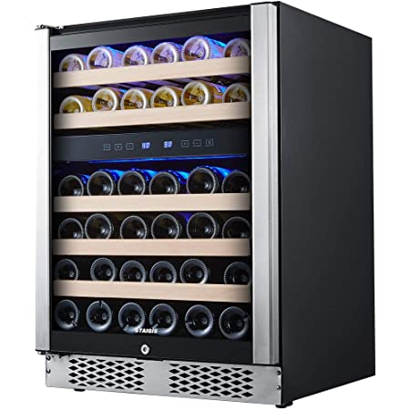 STAIGIS Wine Refrigerator - 24 Inch Wine Cooler with Stainless steel Frame Glass Front Door - 46 Bottles Wine And Drink Mini Fridge for Built In & Freestanding at Home, Office, Kitchen And Bar