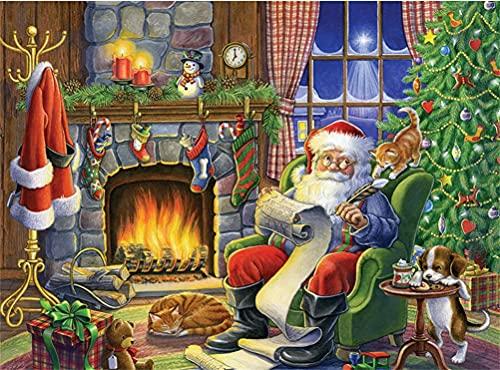 Meecaa - Kit de pintura de diamante con herramientas, diseño de Papá Noel con libro, gato y perro, 5D, para manualidades, 30 x 40 cm (Santa Claus)