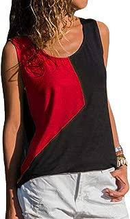 Comaba Women Hit Color Blouse Patchwork Crew-Neck Summer Vest Tank Top Shirt