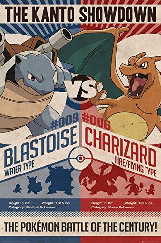 Pokemon - Gaming/TV Show Poster/Print (The Kanto Showdown - Red vs. Blue) (Size: 24 inches x 36 inches)
