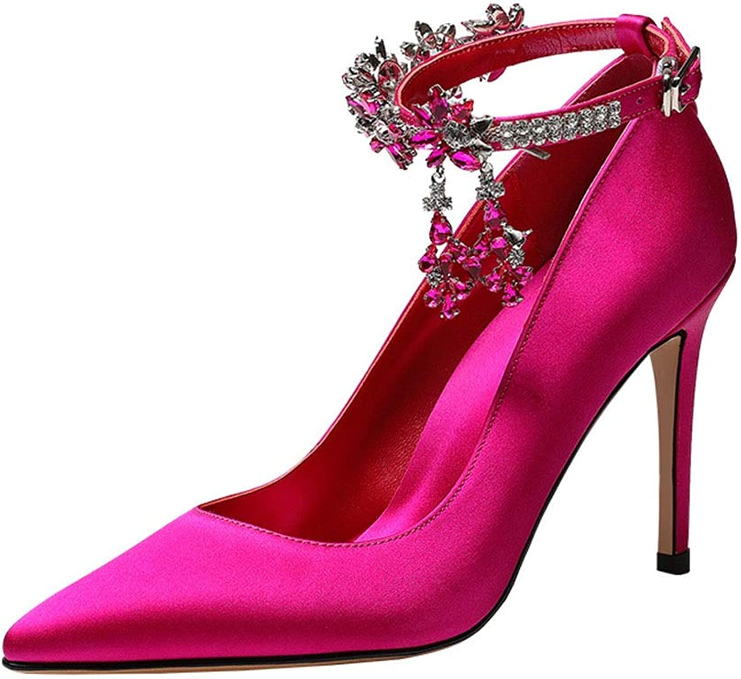 Sandals Women's shoes Sandals Summer Single shoes Pointed High Heels Satin Stiletto shoes Diamond Sexy Sandals Dating shoes, High Heels 9.8 cm (color   Pink, Size   38)