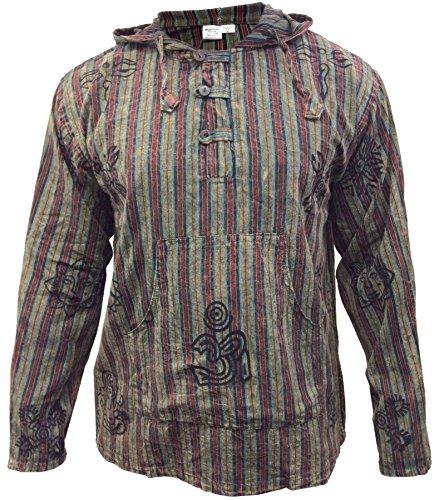 SHOPOHOLIC FASHION Mens Stonewashed Striped Hooded Grandad Shirt (L,Green)