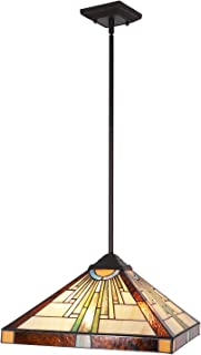 BONLICHT Tiffany Pendant Lighting Antique Tiffany Style Mission 3-Light 16-Inch Stained Glass Shade,Retro Ceiling Pendant Fixture for Kitchen Island Dining Room Bedroom Living Room