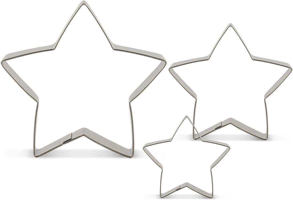 LILIAO Star Cookie Cutters 3 Various Size Large 3 6 Inches Medium 2 8 Inches And Small 2 Inches Stainless Steel