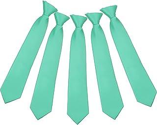 Boys Clipon Ties 5 pcs Kids Solid Color Neck Ties Children Clip-on ties