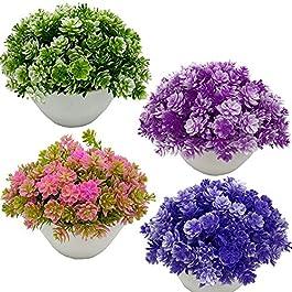 Fycooler Herbe Artificielle en Pot Faux , Faux Mini Plante Fleur Colorée Faux Topiaires Arbustes Plantes de Verdure…