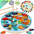 CozyBomB Magnetic Wooden Fishing Game Toy for Toddlers - Alphabet Fish Catching Counting Preschool Board Games Toys for 3 4 5 Year Old Girl Boy Kids Birthday Learning Education Math with Magnet Poles by CozyBomB