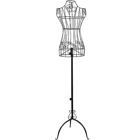 SONGMICS Mannequin Femme, Buste, en Forme de Robe Vintage, en Fils métallique, Hauteur réglable 114-170 cm, Mannequin de vitrine, Noir HRA10B