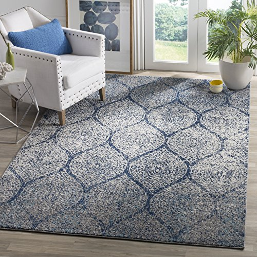 Safavieh Madison Collection MAD604G Glam Ogee Trellis Distressed Non-Shedding Stain Resistant Living Room Bedroom Area Rug, 3' x 5', Navy / Silver