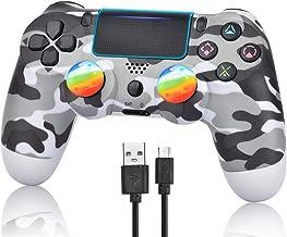 Manette sans fil pour PS4, manette de jeu pour PlayStation 4 avec câble USB, camouflage gris (Grey Camouflage)