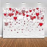 Avezano 2.1*1.5m Fondo de San Valentín Corazones rojos rosados Fondo de pared...
