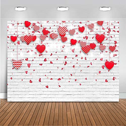 Avezano 2.1*1.5m Fondo de San Valentín Corazones rojos rosados Fondo de pared de ladrillo blanco Día de la madre Boda Despedida de soltera Fiesta de aniversario Fiesta de cumpleaños de niña Banner