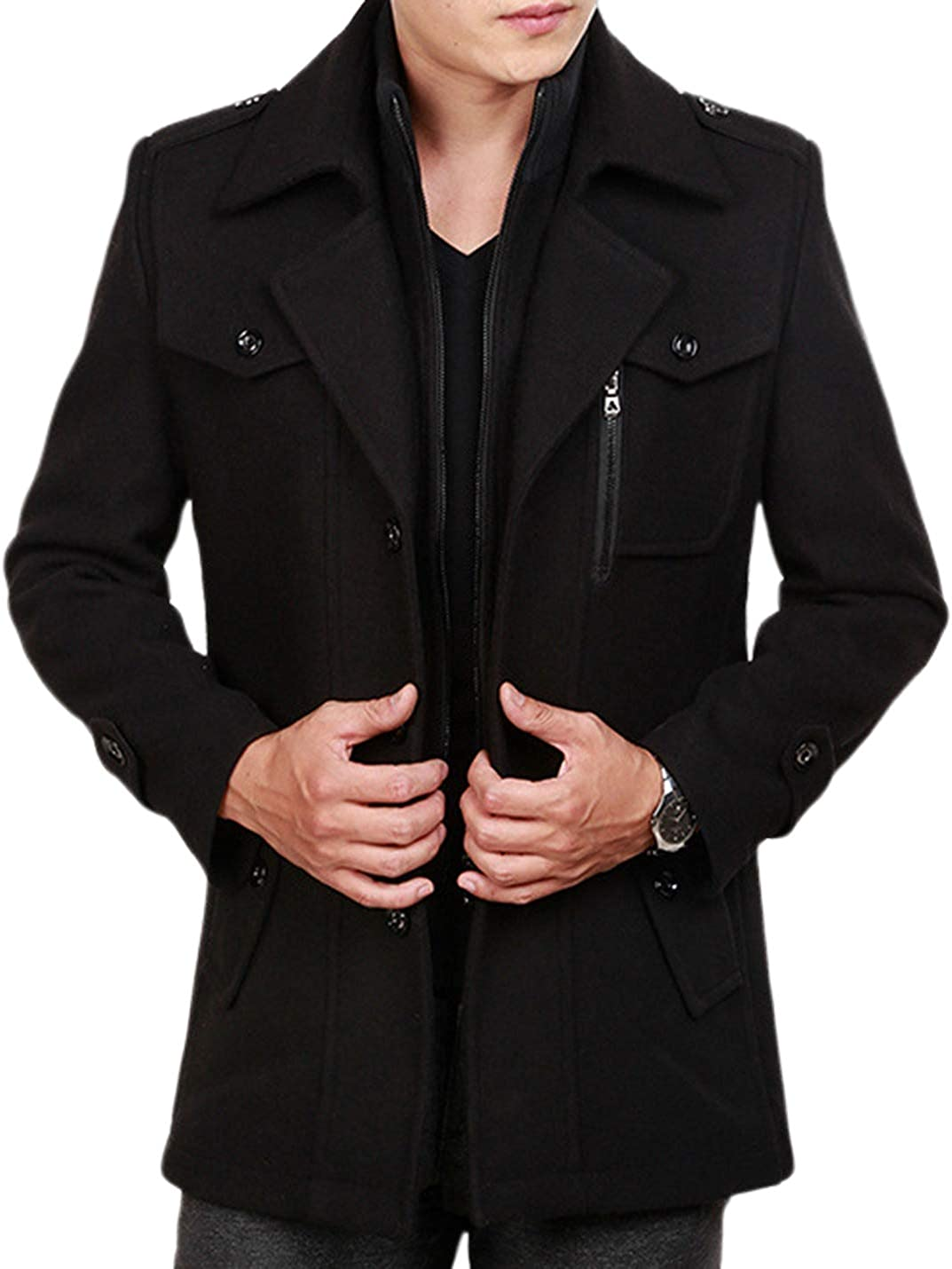 Uaneo Mens Casual Thicken Layered Lapel Collar Mid Long Wool Blend Coat Outerwear(Black-S)